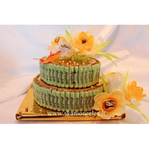 Konfeti - tortas iš saldainių Skanios Gėlės