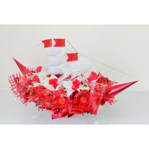 """Puokštė iš saldainių """"Raudonas laivas - 2"""""""