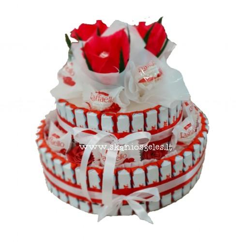 Naomi - tortas iš saldainių Skanios gėlės
