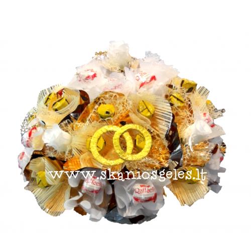 Vestuvių dovana - puokštė iš saldainių