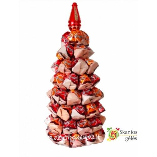Saldainių eglė-2 puokštė iš saldainių