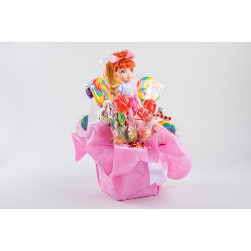 Lėlė - 2 puokštė iš saldainių Skanios gėlės